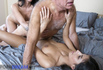 Grandpa Fucks gorgeous daughters who make him a Blowjob for a couple photo #13