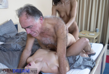 Grandpa Fucks gorgeous daughters who make him a Blowjob for a couple photo #14