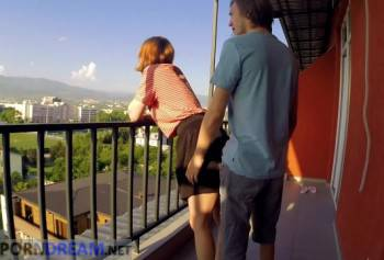 Fucked on the balcony until the police arrive