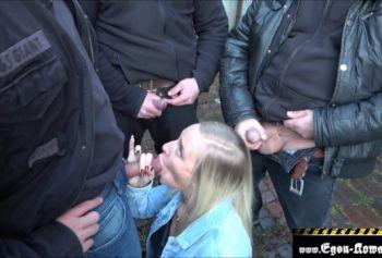 Huge Butt Blonde Gangbanged Outside and Cummed on Her Leggings
