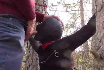Секс на природе в лесу - Фетиш на природе с маской и связыванием